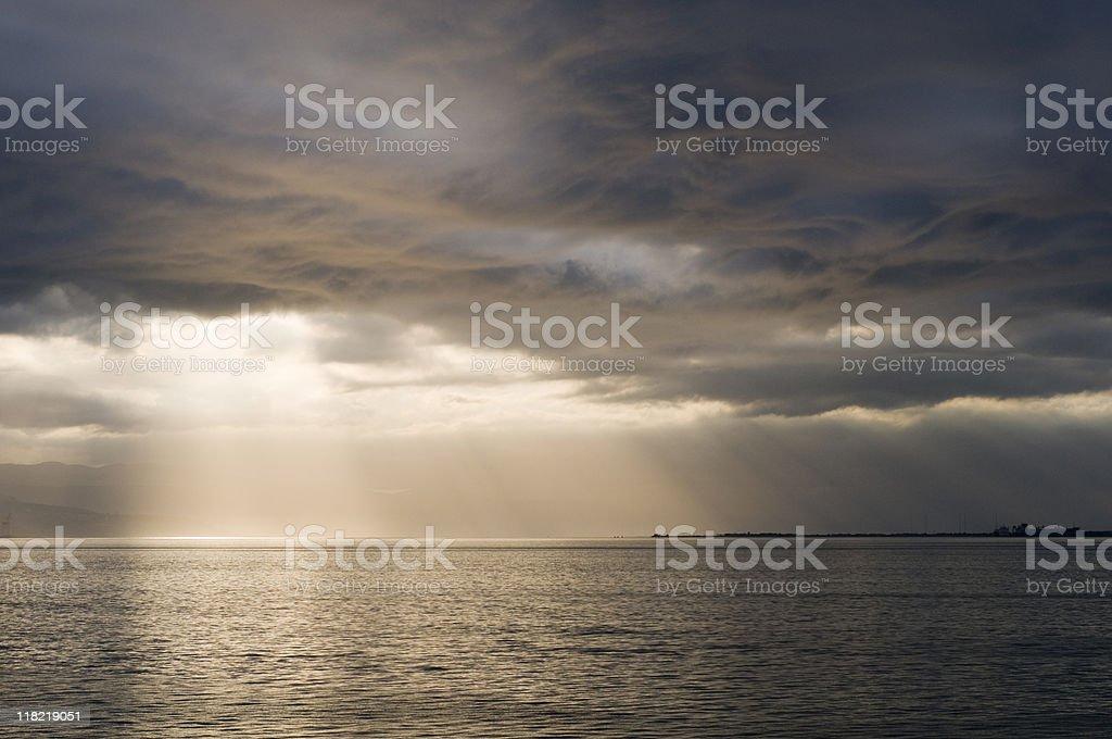 Shafts of sunlight through clouds over sea, Yalova, Turkey stock photo