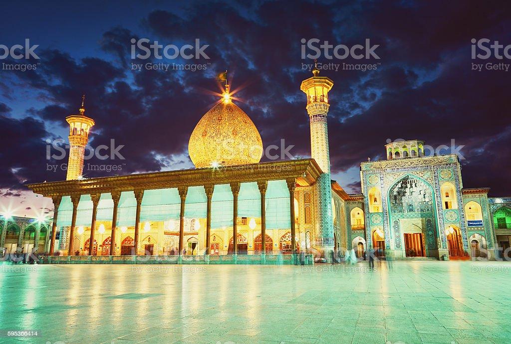 Shah Cheragh mosque after sunset. Shiraz, Iran stock photo
