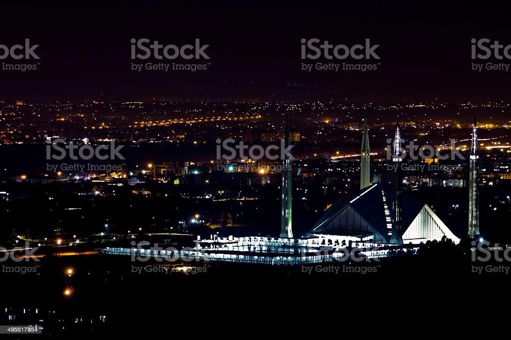 Shah Faisal Mosque Night View Islamabad-Pakistan stock photo