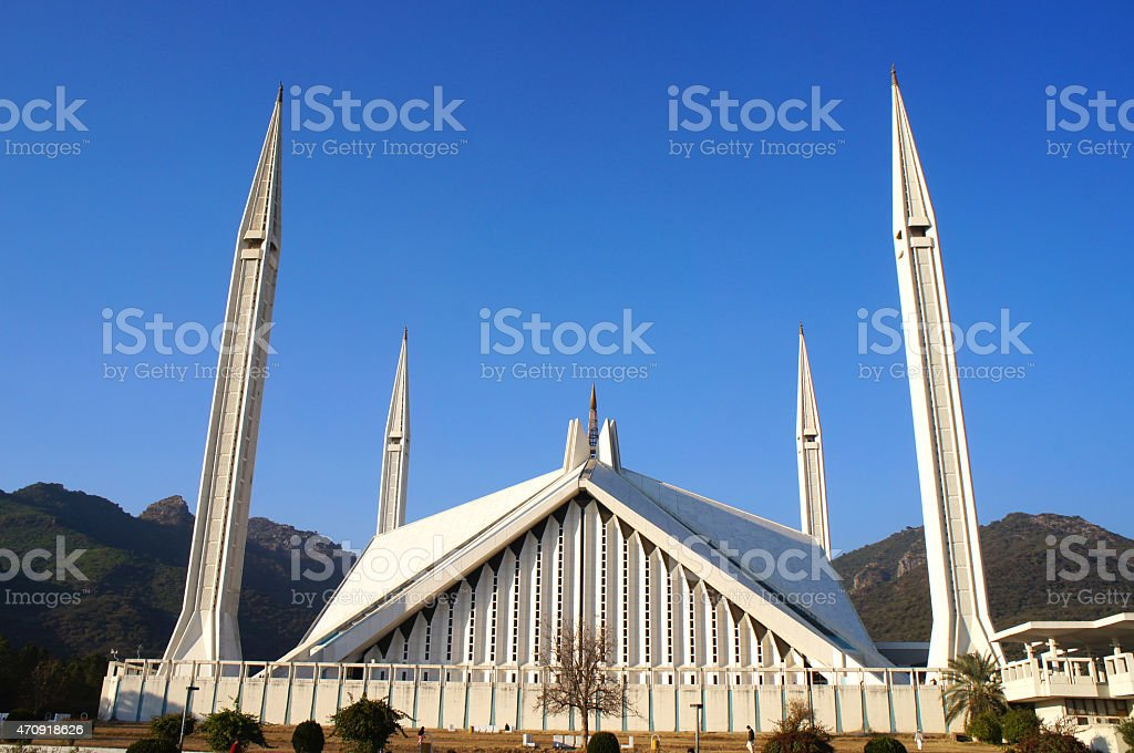 Shah Faisal Mosque on sunny day with Clear Blue sky stock photo