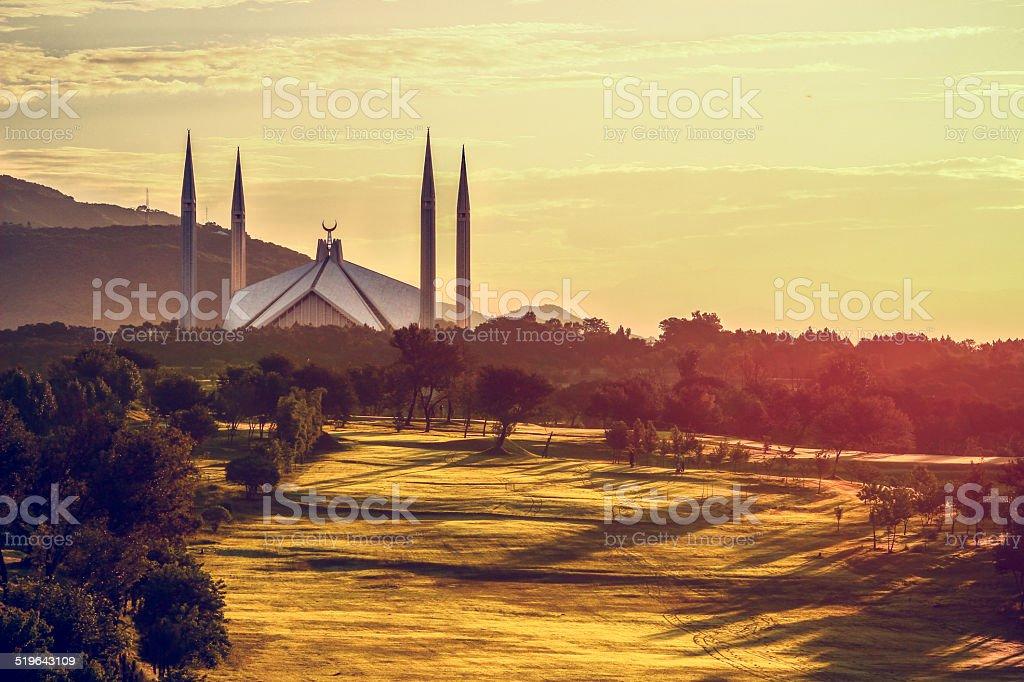 Shah Faisal Mosque Sunrise Islamabad Pakistan stock photo