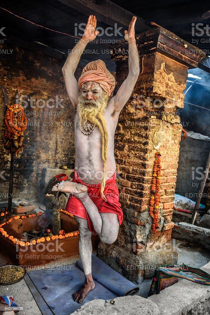 Shaiva sadhu (holy man)  exercises in Pashupatinath Temple, Kathmandu, Nepal stock photo