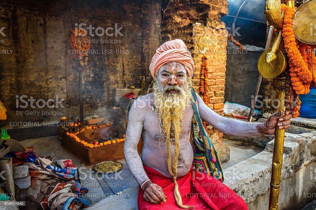 Shaiva sadhu (holy man)  in Pashupatinath Temple in Nepal stock photo
