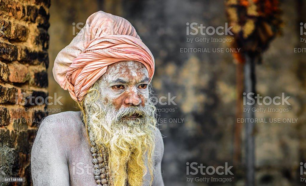 Shaiva sadhu (holy man)  in Pashupatinath Temple, Kathmandu, Nepal stock photo