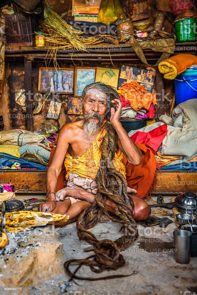 Shaiva sadhu (holy man)  living in Pashupatinath Temple, Kathman stock photo