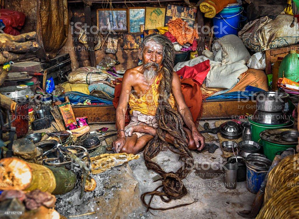 Shaiva sadhu (holy man)  living in Pashupatinath Temple, Kathmandu, Nepal stock photo