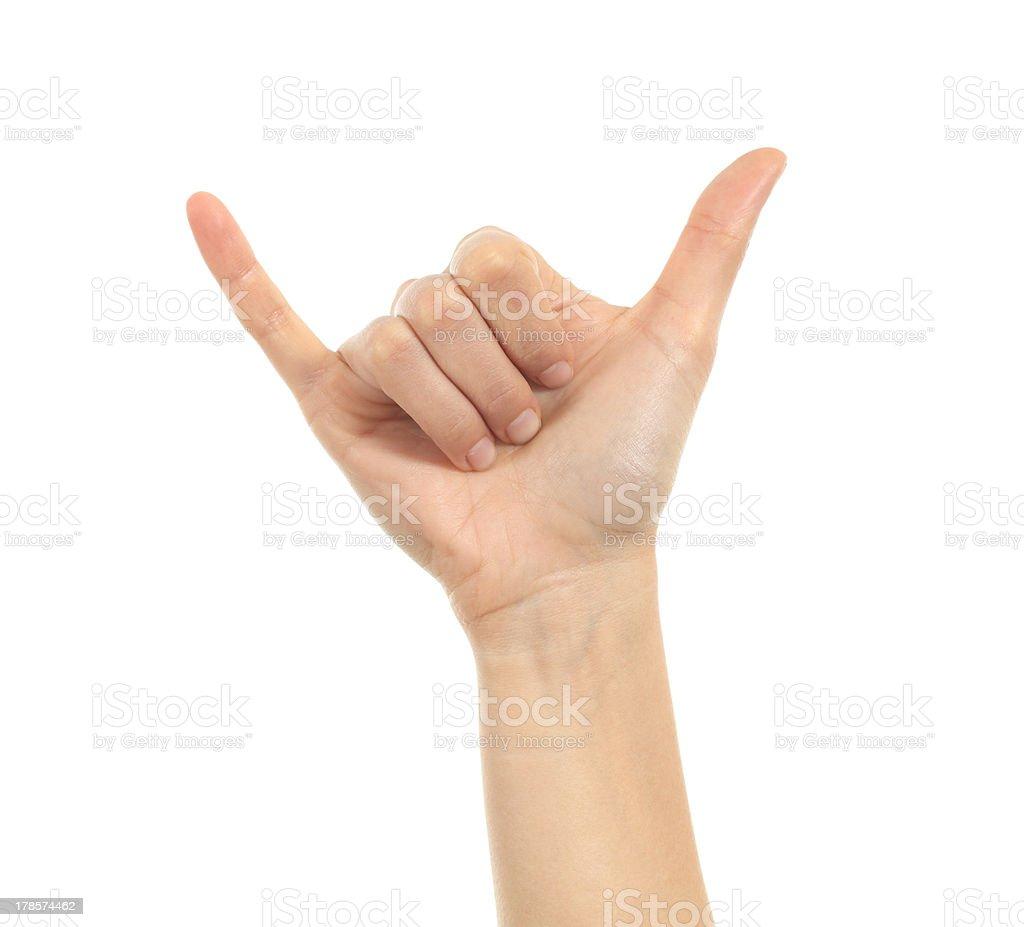 Shaka or calling hand sign stock photo