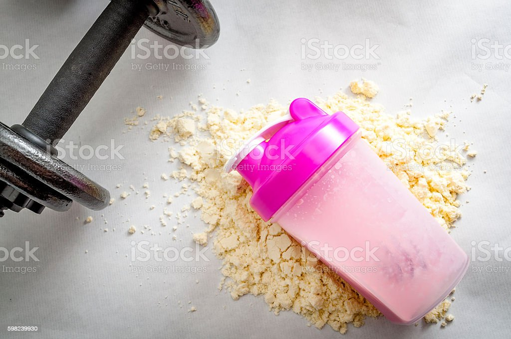 shaker smashed into protein powder stock photo