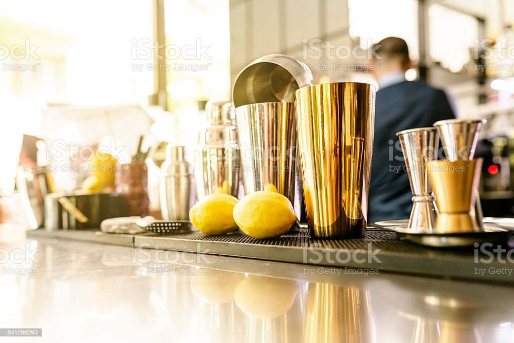 Shakers in a pub. stock photo