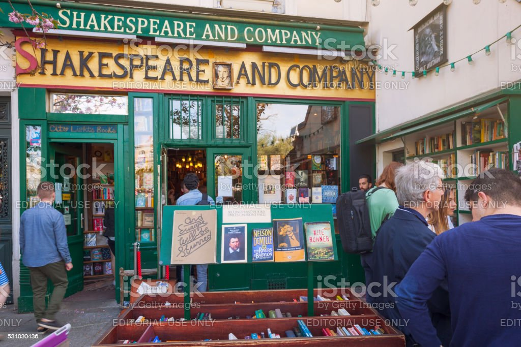 Shakespeare and Company bookstore stock photo