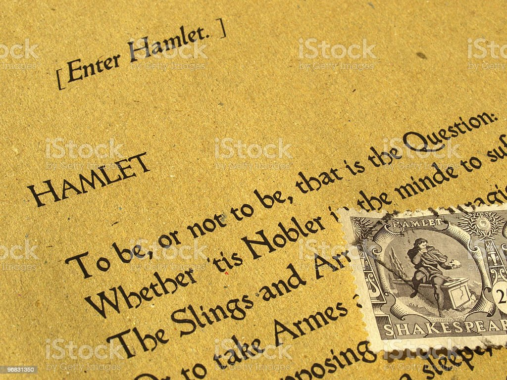 Shakespeare Hamlet with original stamp and book stock photo