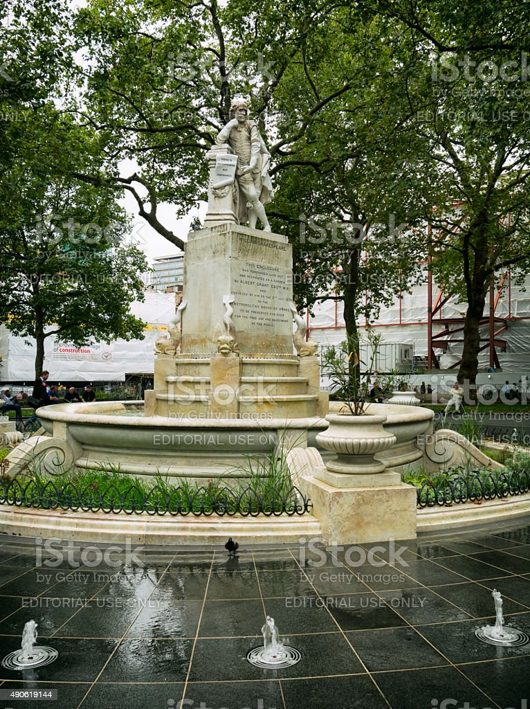 Shakespeare memorial fountain, Leicester Square, London stock photo