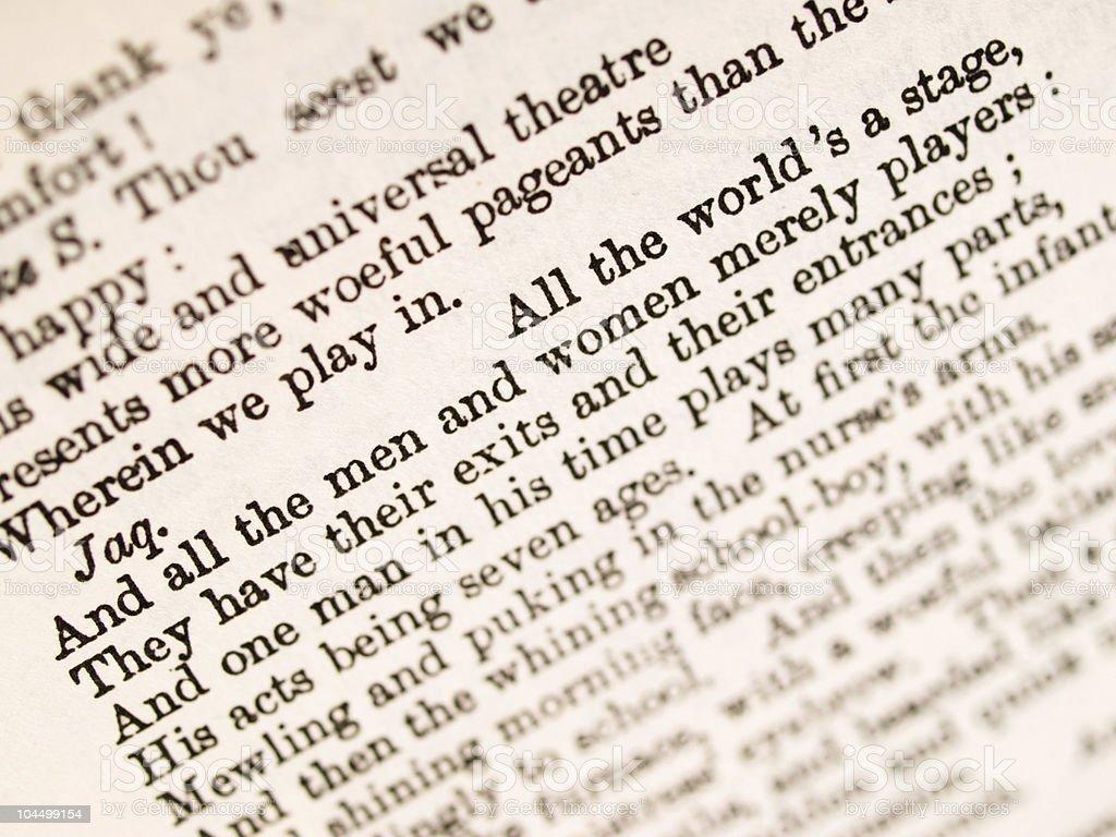 Shakespeare quotation stock photo