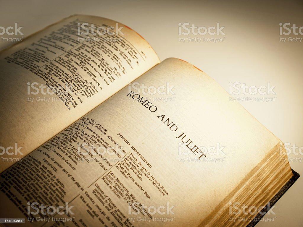 Shakespearean book open to Romeo and Juliet stock photo