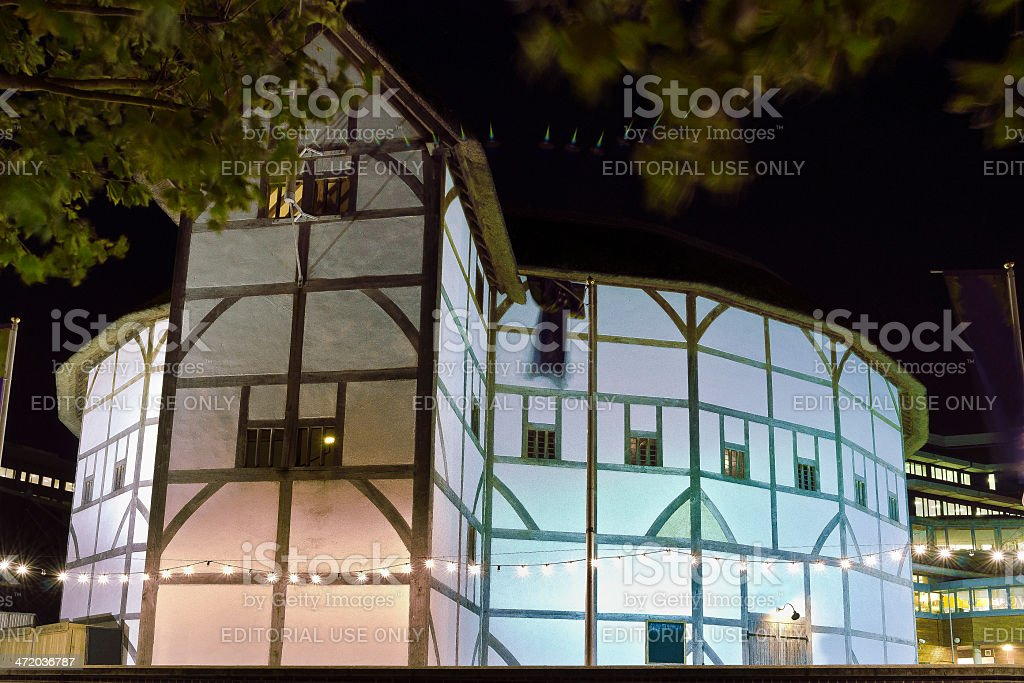 Shakespeare's Globe Theatre By Night - London royalty-free stock photo