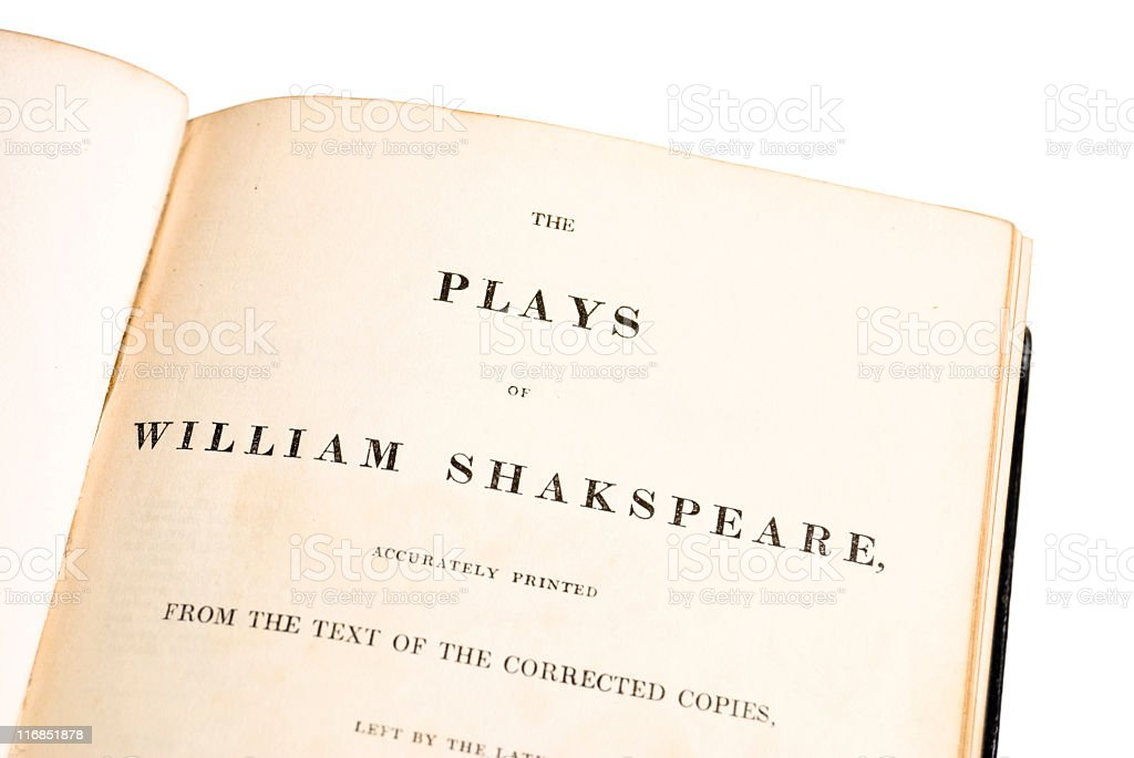 Shakespeare's Plays: title page of an 1839 edition on white royalty-free stock photo