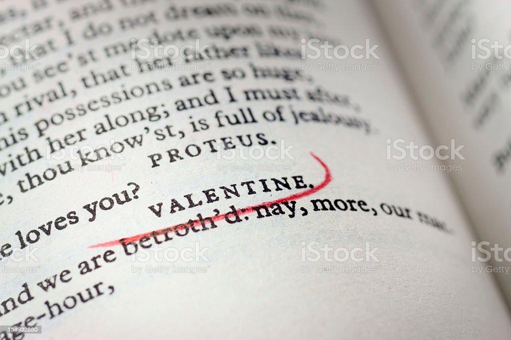 Shakespeare's Valentine - Romance in English literature stock photo