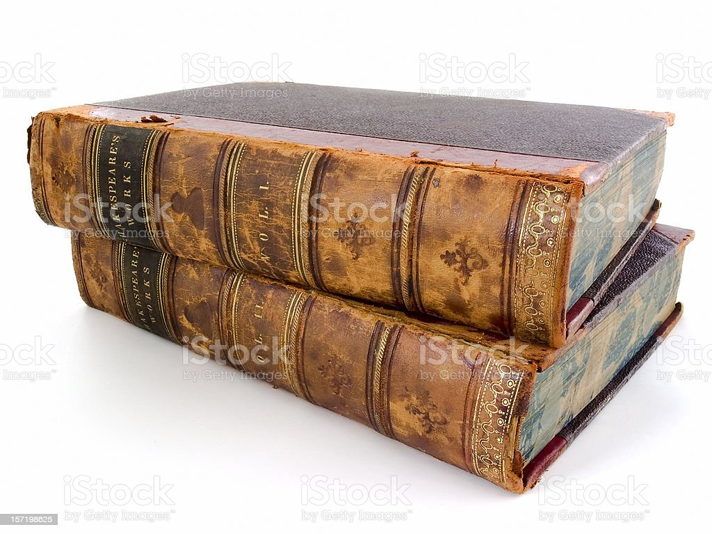 Shakespeare's Works - two antique volumes on white royalty-free stock photo