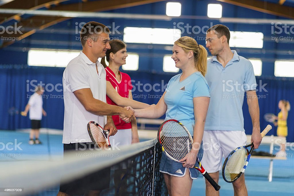 Shaking Hands After A Tennis Match stock photo