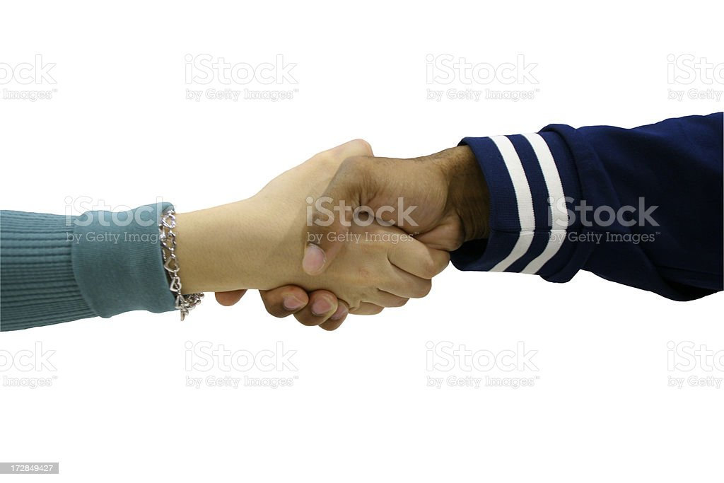 Shaking hands with clipping path royalty-free stock photo