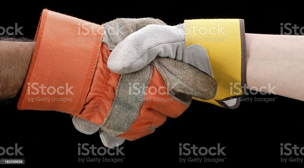 Shaking Hands with Gloves On royalty-free stock photo