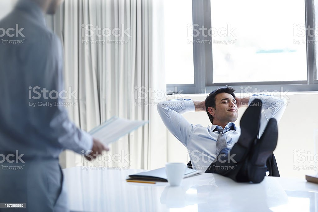 Shaking his responsibilities royalty-free stock photo