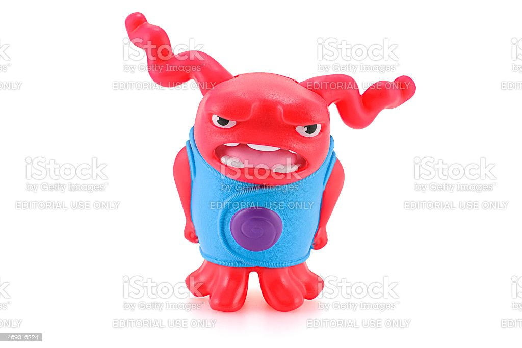 Shaking OH red alien toy character from Dreamworks HOME animatio stock photo