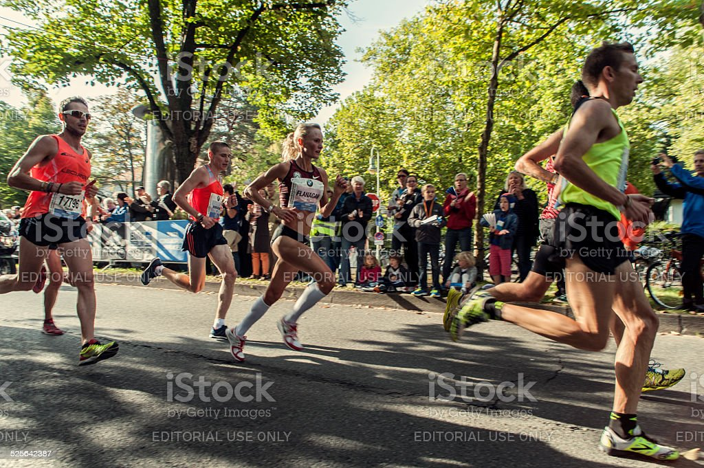 Shalane Flanagan at 41st BMW Berlin Marathon 2014 stock photo