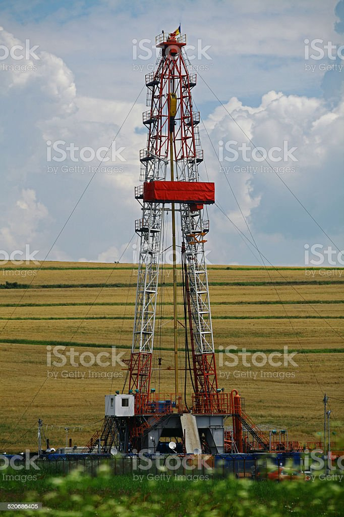 Shale gas drilling rig stock photo