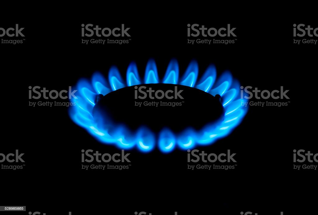 Shale gas stove as a blue fire stock photo