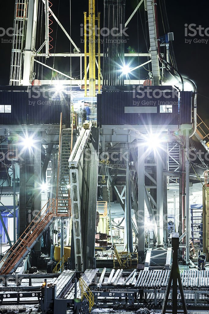 Shale Natural Gas Drilling at Night stock photo