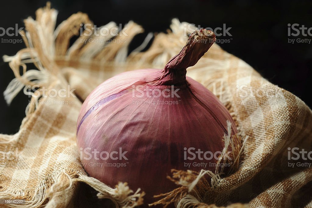 Shallots on the background fabric royalty-free stock photo