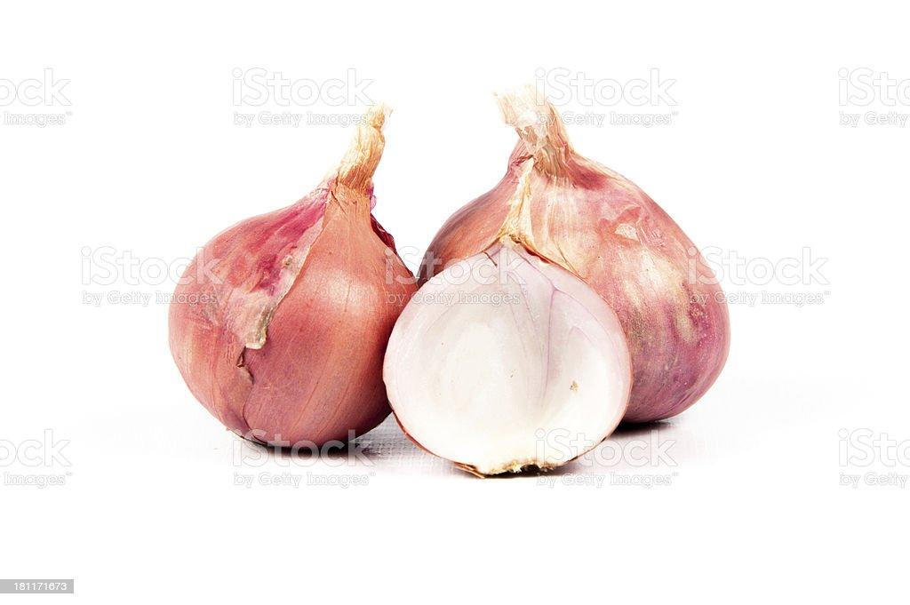 Shallots on white background (Allium ascalonicum) stock photo
