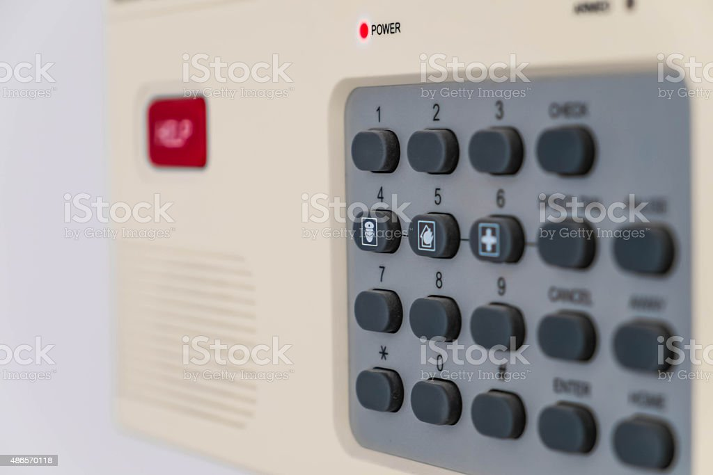 Shallow depth of field, home security system, selective focus stock photo