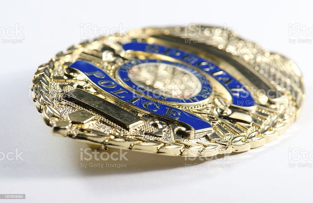 Shallow depth of field view of a police badge stock photo