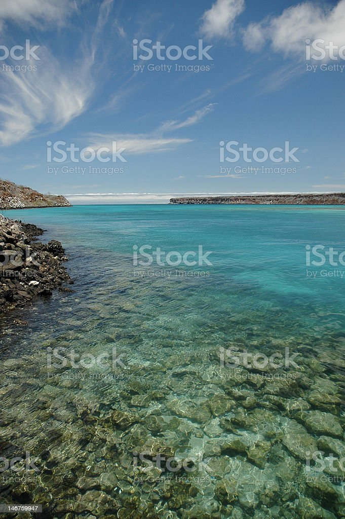 Shallow turquoise water, Galapagos Islands royalty-free stock photo