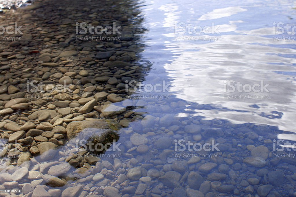 Shallow Water Reflecting Blue Sky With Clouds stock photo
