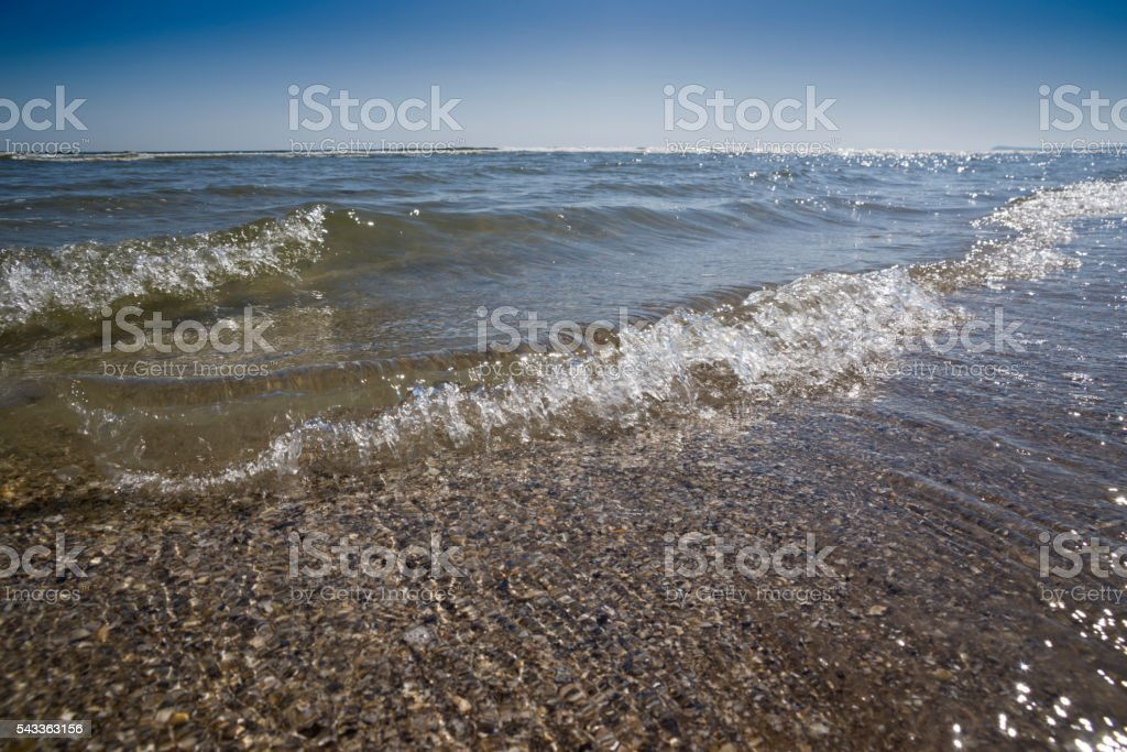 Shallow waves and mussels under clear blue sky stock photo