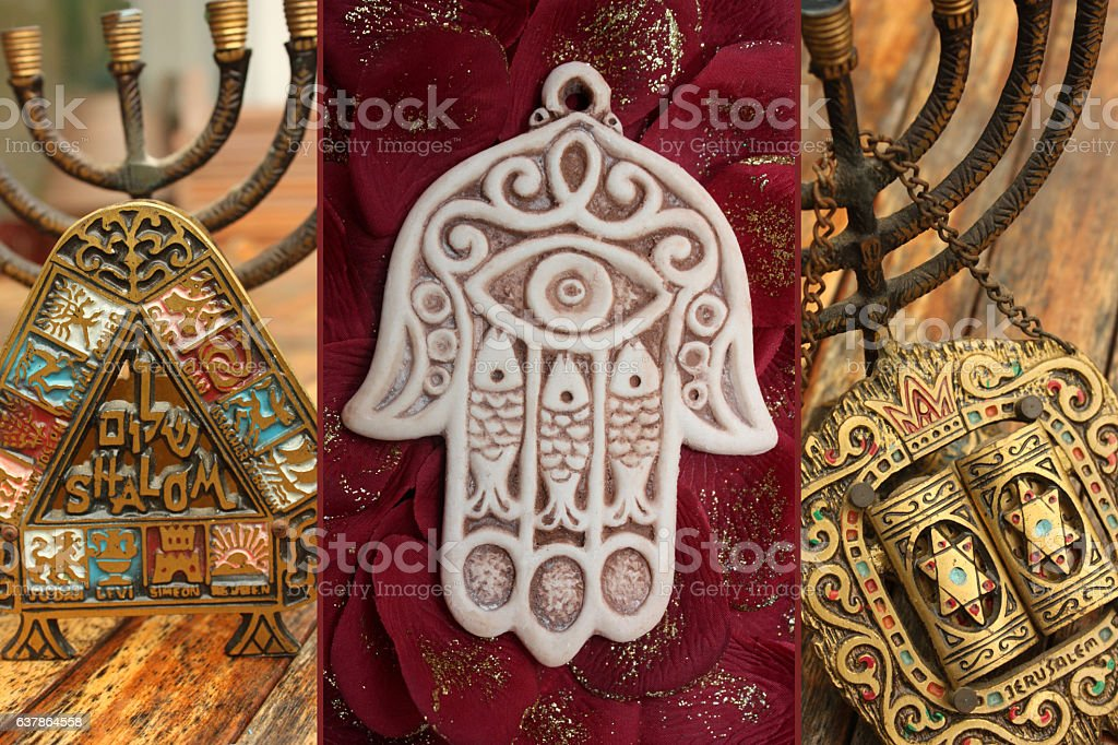 Shalom Jerusalem  Hanoukka  Hamsa stock photo