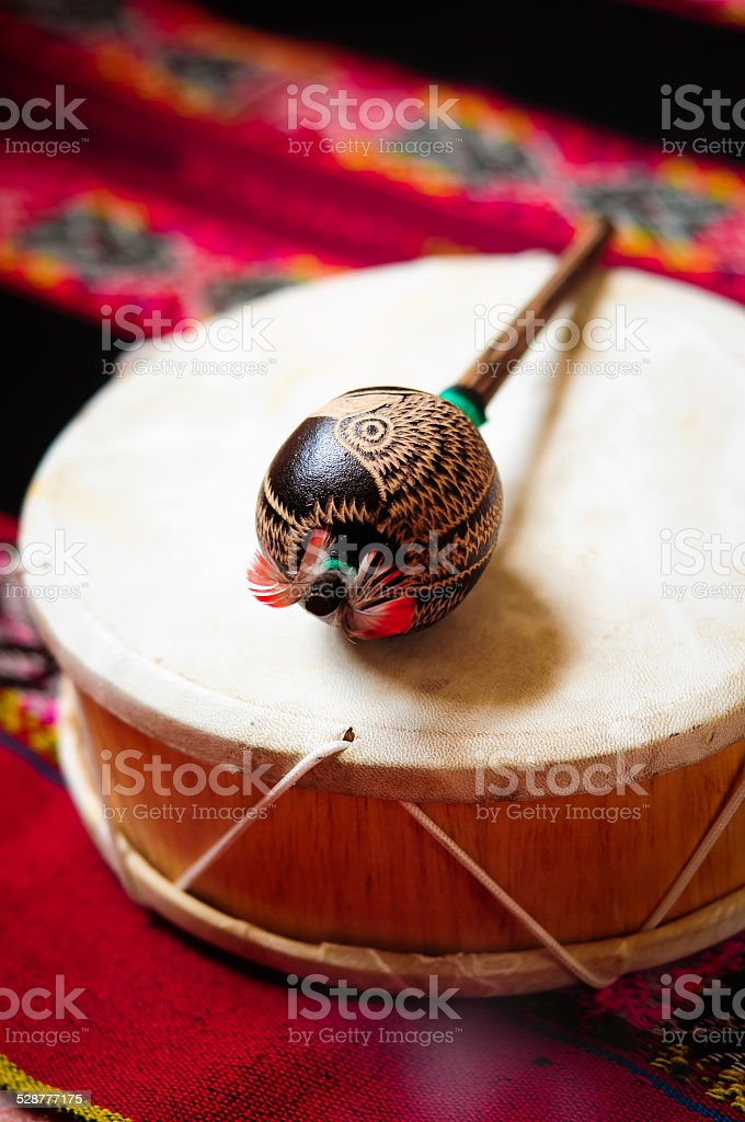 Shaman drum and rattle stock photo