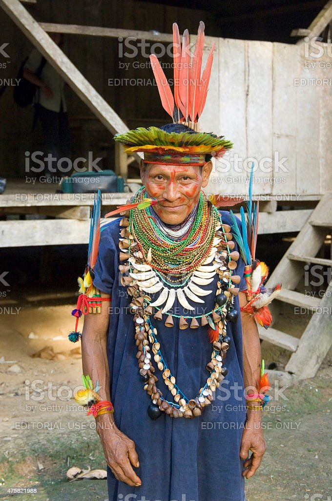 Shaman in Ecuador Rainforest stock photo