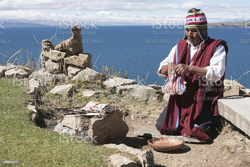 Shaman performs purification ritual stock photo