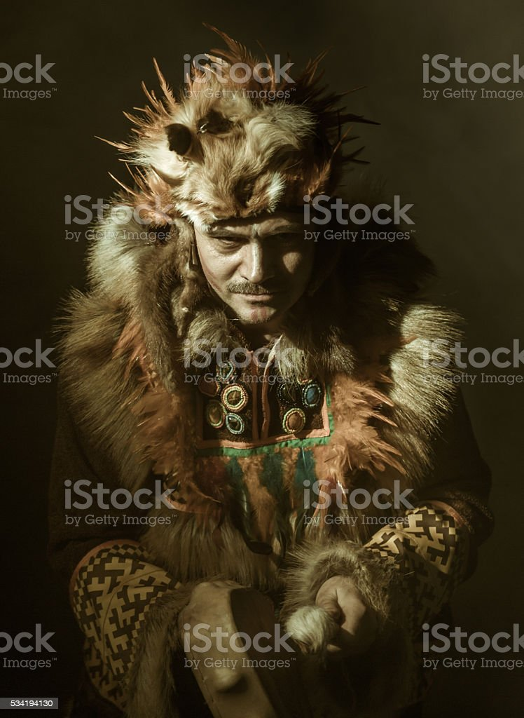 Shaman. Spellcasting Ritual stock photo