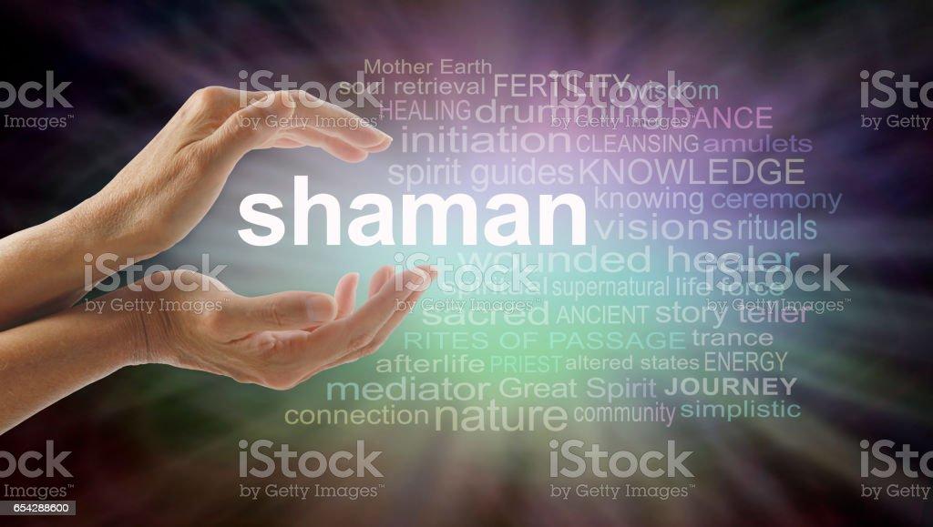 Shaman word cloud and healing hands stock photo