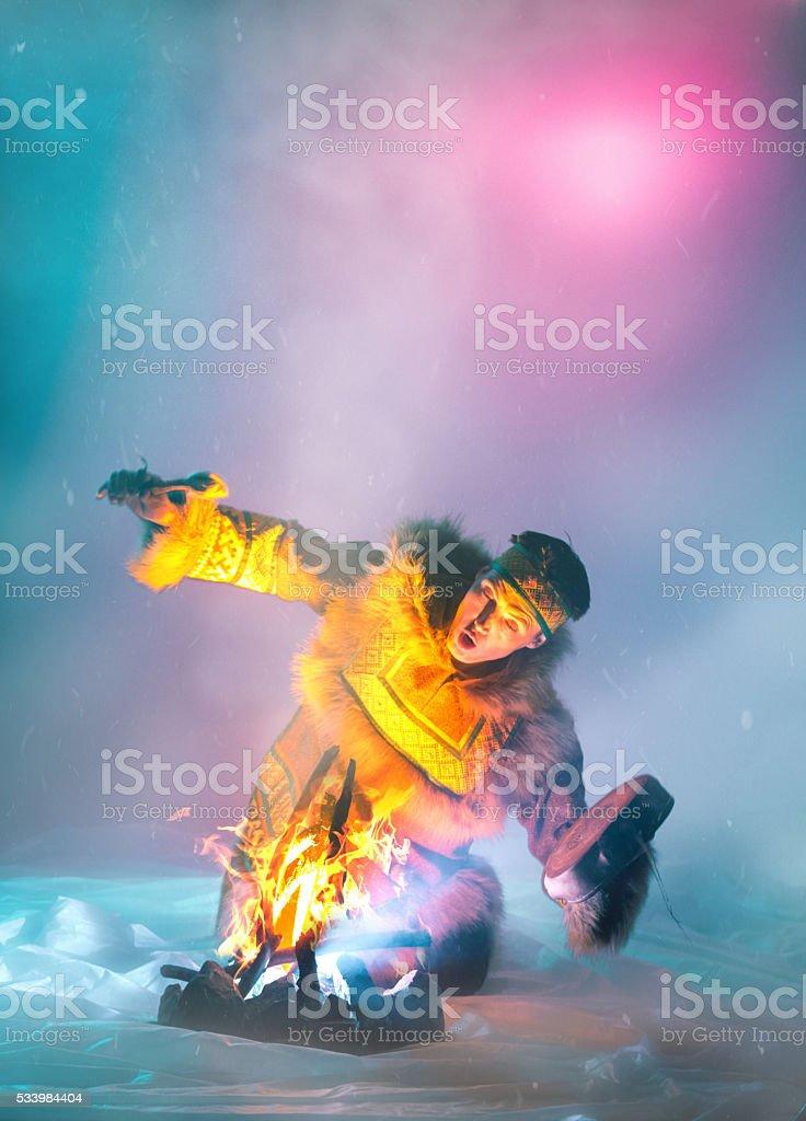 Shaman's Fire Dance stock photo