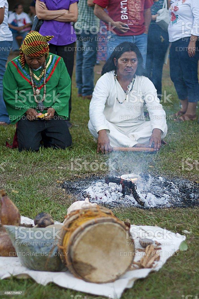 Shamans meditating in backtun stock photo