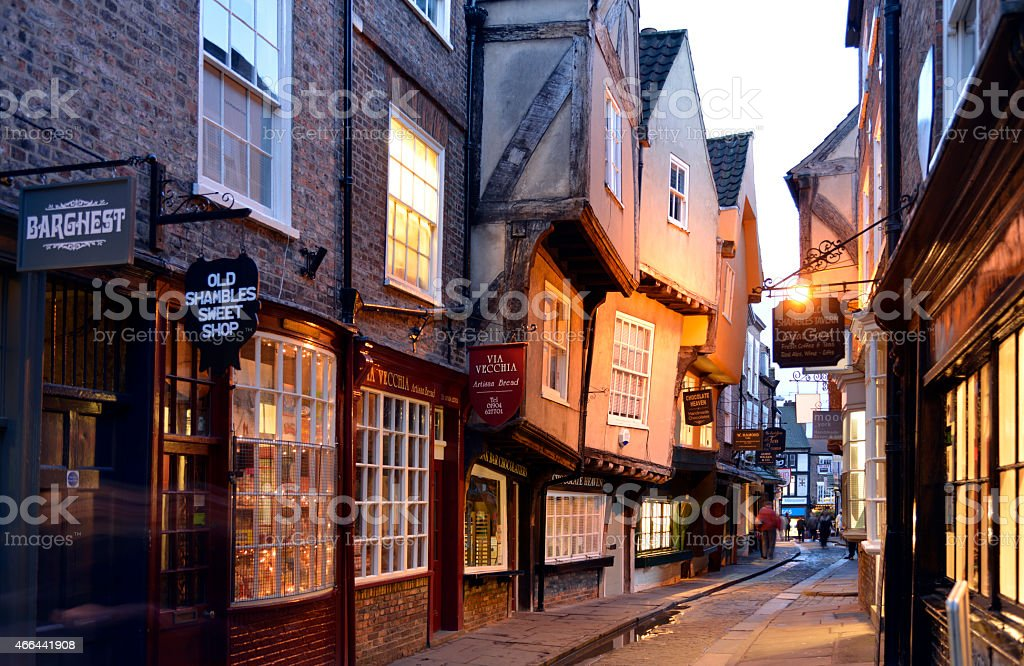 Shambles street scene in York England. stock photo