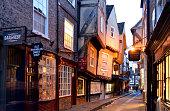 Shambles street scene in York England.