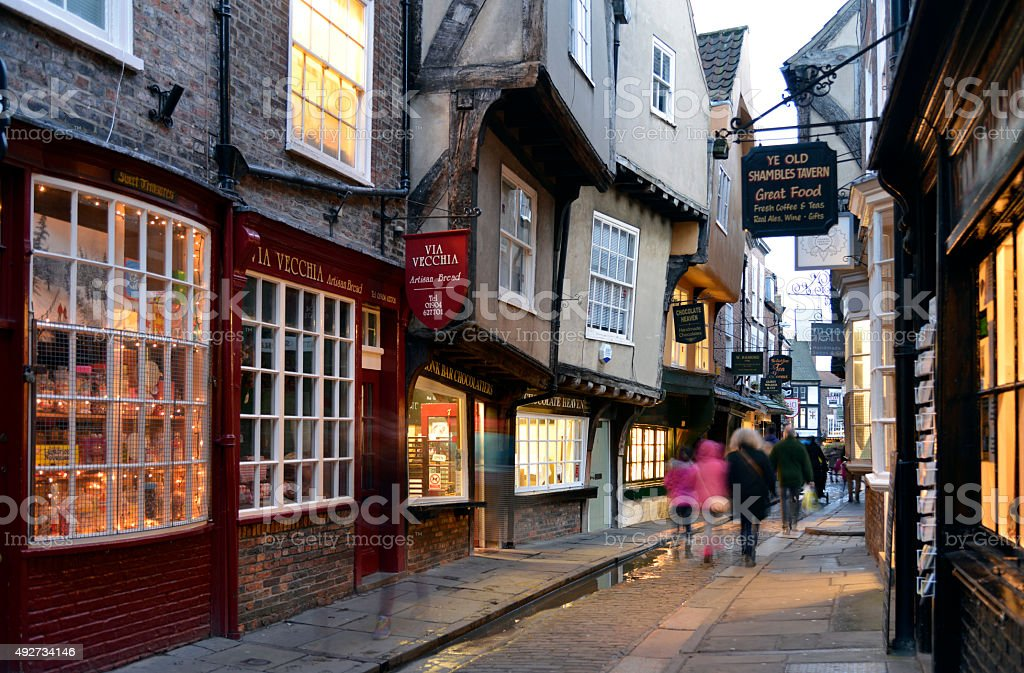 Shambles street scene in York. stock photo