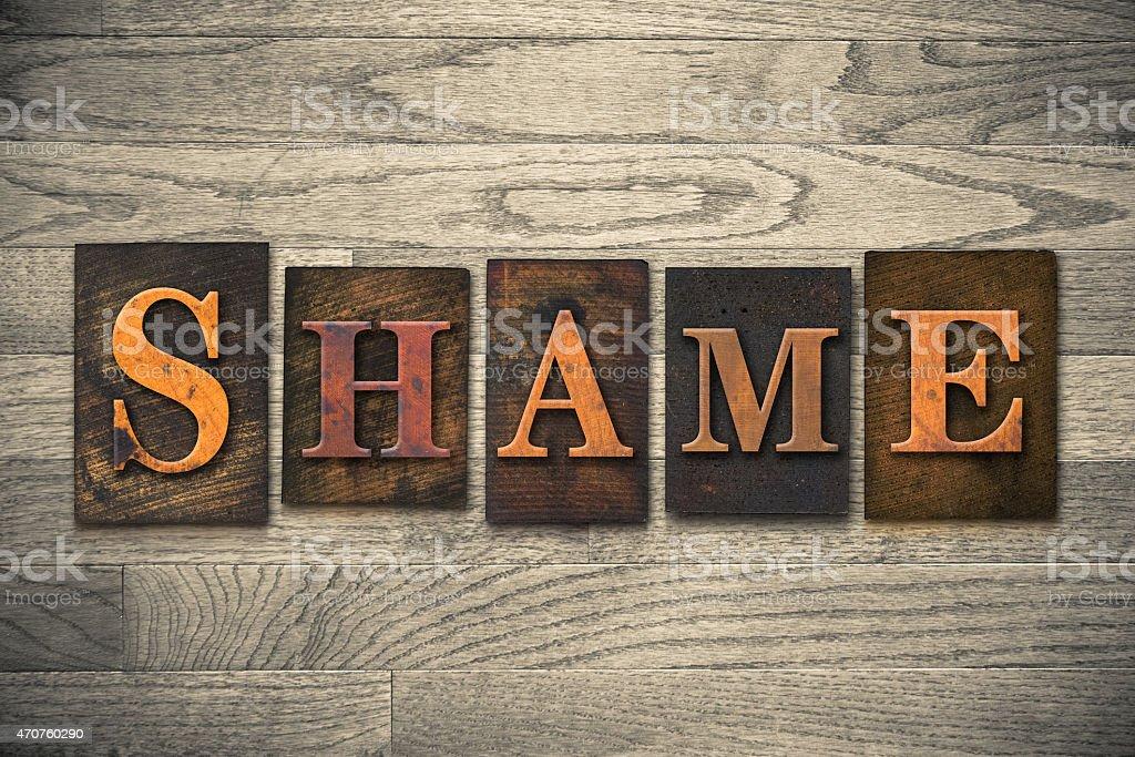 Shame Wooden Letterpress Theme stock photo